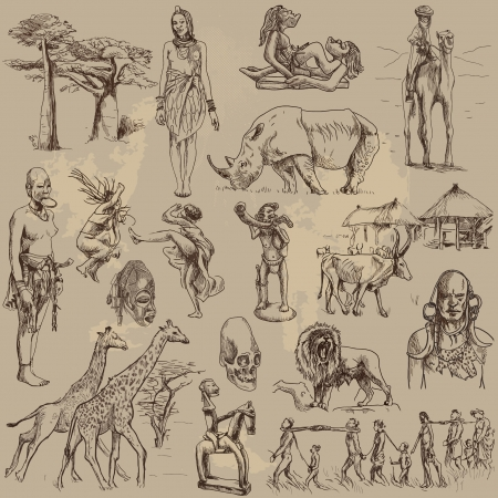 central africa - traveling collection, hand drawings  Vectores