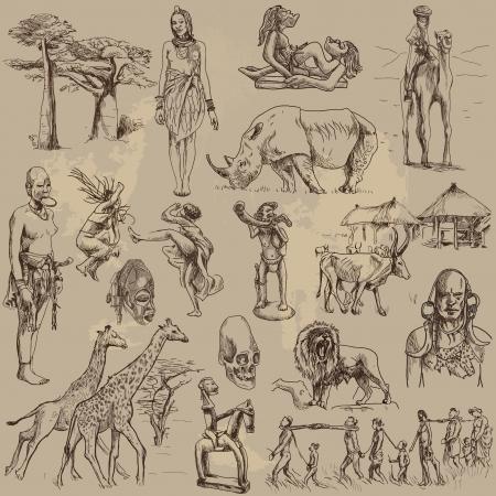central: centraal afrika - reizen collectie, met de hand tekeningen