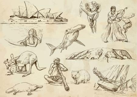 platypus: Australia hand drawn