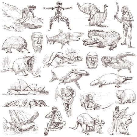 Australia - luxury hand drawn collection on white photo
