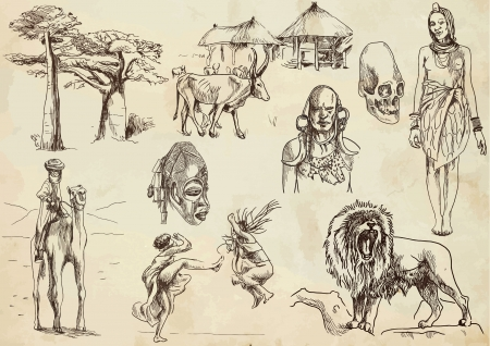 african village: Central Africa hand drawn Illustration