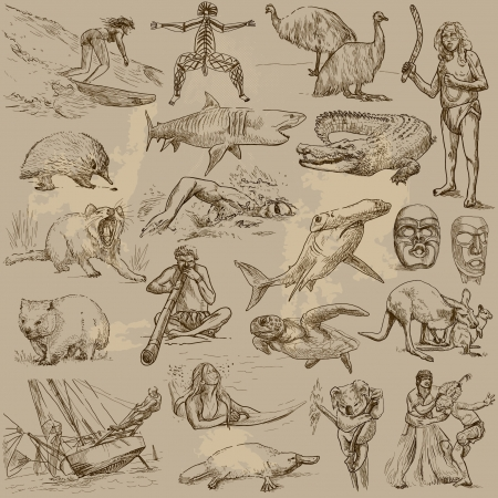 wombat: Viajando series Australia - colección de ilustraciones dibujadas una mano