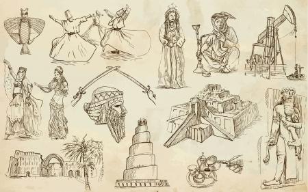 Viaggiare serie Medio Oriente - raccolta di una mano illustrazioni disegnate Archivio Fotografico - 20078318