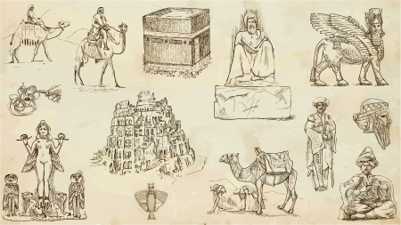 old picture: Traveling series  Middle East - collection of an hand drawn illustrations Illustration