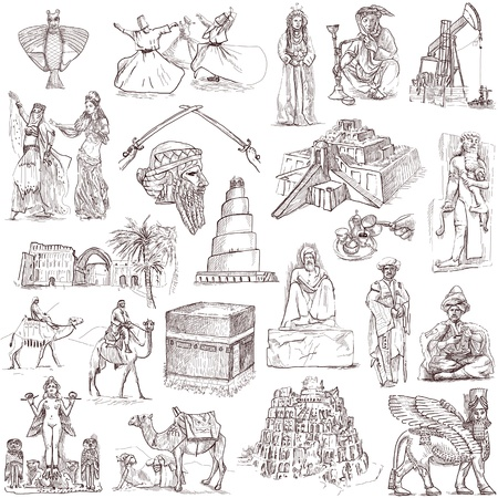 middle east: Traveling series  Middle East - collection of an hand drawn illustrations Stock Photo
