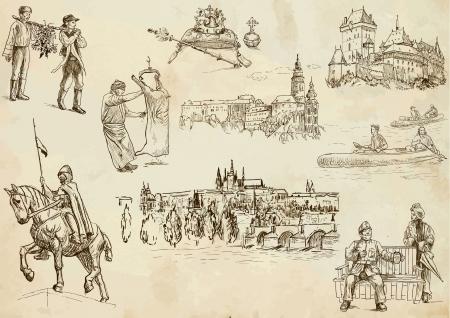 czechoslovak: Czechoslovak collection hand drawings Illustration