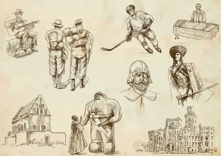 Czechoslovak collection hand drawings Illustration