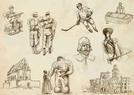 judah: Czechoslovak collection hand drawings Illustration