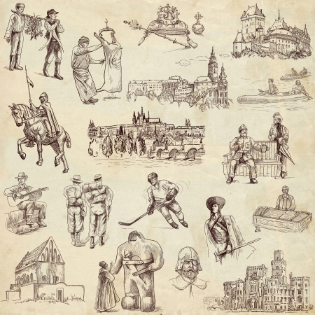 czechoslovak: Czechoslovak collection full sized hand drawings on old paper Stock Photo