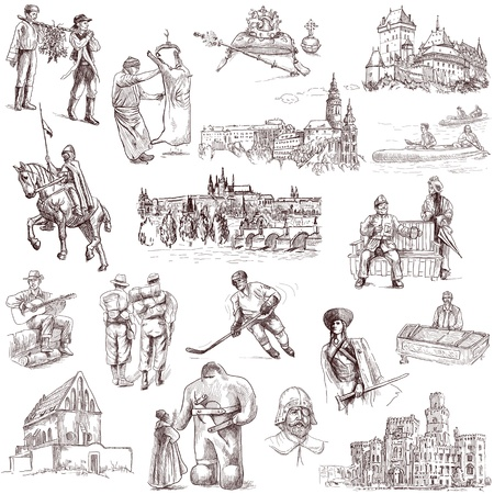 Czechoslovak collection full sized hand drawings on white