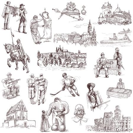 Raccolta cecoslovacchi disegni a mano pieno di dimensioni su bianco Archivio Fotografico - 20148124