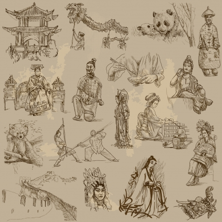 great wall of china: Chinese collection - hand drawings into vector set