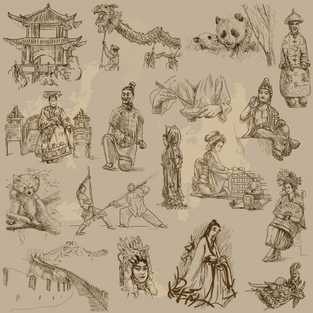 oso panda: Colección china - dibujos a mano en conjunto de vectores