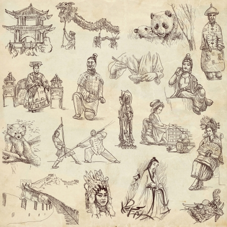 Chinese collection hand drawings on old paper texture