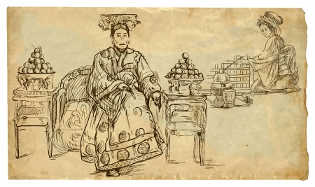 siesta: oblewoman and girl preparing tea