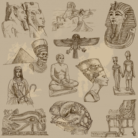 queen nefertiti: Ancient EGYPT collection of an hand drawn illustrations