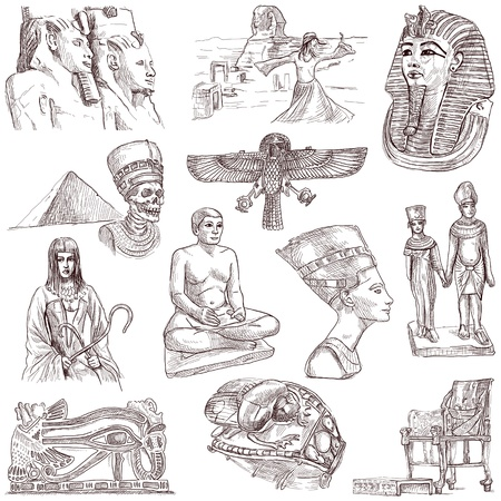 Ancient EGYPT - collection of an hand drawn illustrations illustration