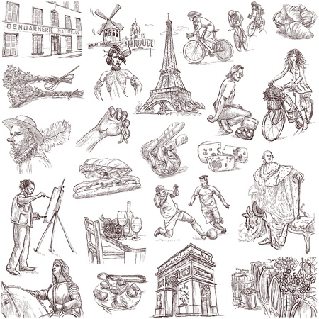 rouge: Traveling series France - collection of an hand drawn illustrations Stock Photo