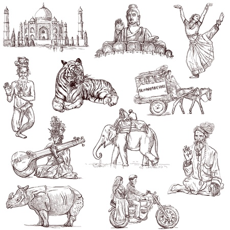 Traveling series India - collection of an hand drawn illustrations