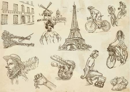 cabaret: France - voyages collecte 2 dessins � la main dans des vecteurs Illustration
