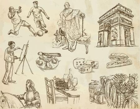 フランス - コレクション 1 手描きの線画ベクトルに旅行