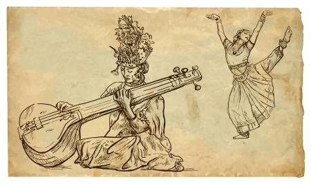 musica clasica: Belleza india que juega el tanpura y el otro baile belleza