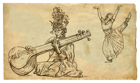 classical arts: Indian beauty playing the tanpura and the other beauty dancing