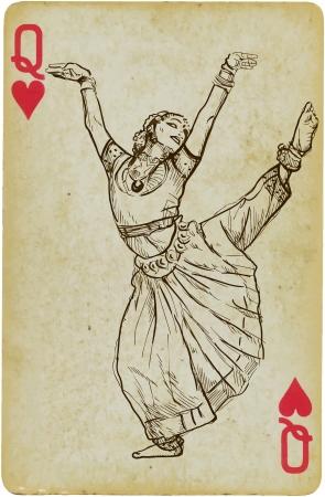 beauty queen: Indian beauty dancing  Illustration