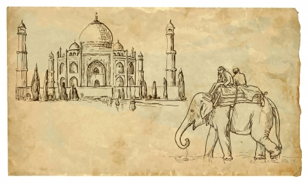 oriental: Two people on an elephant outside the palace taj mahal