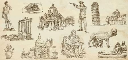 sophistication: Viajando serie ITALIA 1 - Colecci�n de ilustraciones dibujadas una mano Vectores