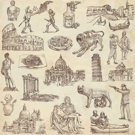 lupa: Italy, traveling - an hand drawn illustrations on old paper