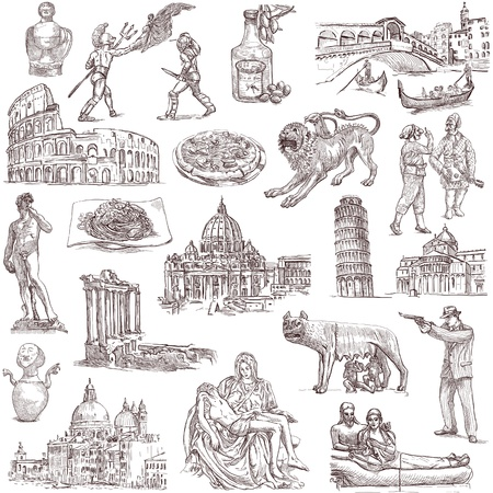 lupa: Traveling series  Central ITALY - Collection of an hand drawn illustrations