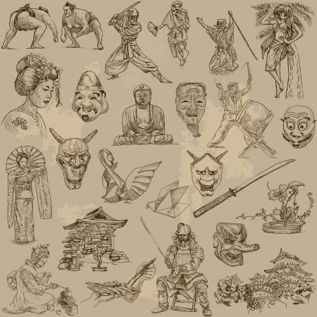 guerrero samurai: La cultura y la historia de Jap�n - colecci�n de dibujado a mano ilustraciones Vectores