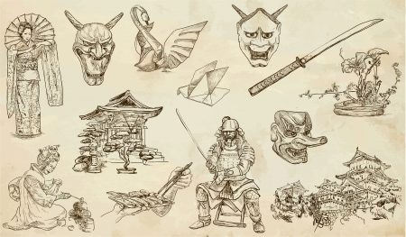 Japan set hand drawn illustration