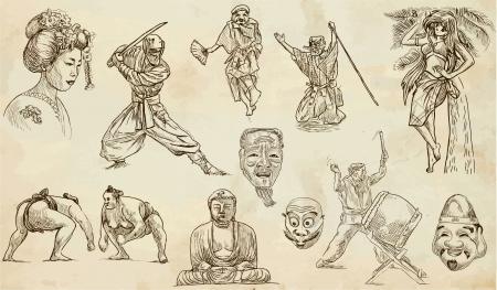 sumo: Japan hand drawn illustration Illustration