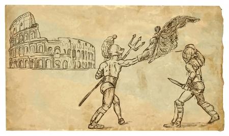 Gladiators hand drawn illustration