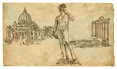 イタリアの最高の手描き下ろしイラスト  イラスト・ベクター素材