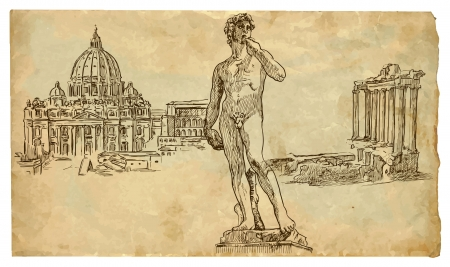 sculpture: Best of Italy hand drawn illustration