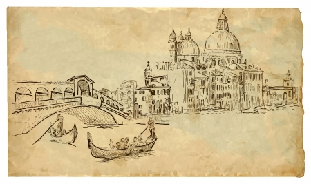 gondolier: Venice hand drawn illustration