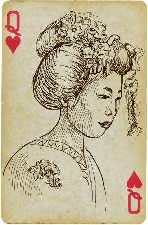 Japan, Woman hand drawn illustration Vector