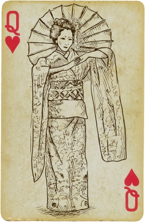 Geisha hand drawn illustration Vector