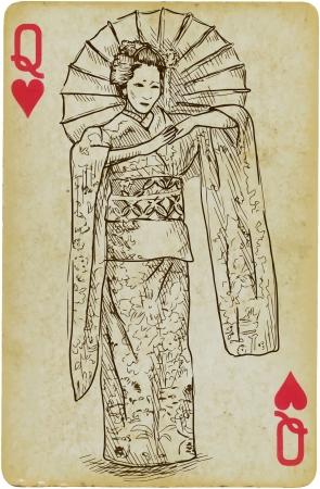 Geisha hand drawn illustration Illustration