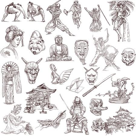 日本旅行の手描きイラスト コレクション