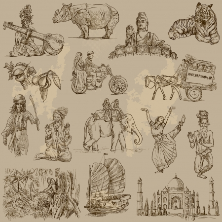 india people: India and Indonesia - Traveling collection of hand drawn illustrations converted into on old paper texture