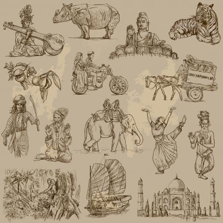 indonesien: Indien und Indonesien - Reisen Sammlung von Hand gezeichnete Illustrationen in auf altem Papier Textur umgewandelt Illustration