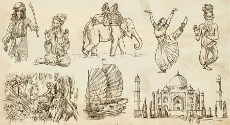 L'Inde et l'Indonésie 1 - Voyager collection - drawns de main dans ensemble Banque d'images - 20857307