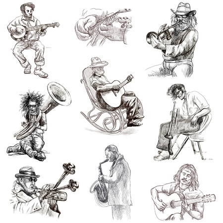 piano roll: Musicians - Collection of hand drawn illustrations