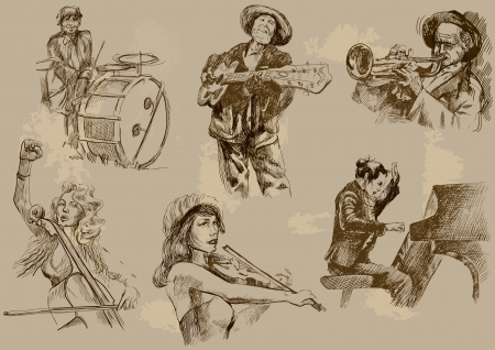piano roll: Musicians - Collection of hand drawings converted