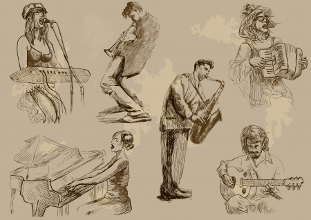 Musicians - Collection of hand drawings converted