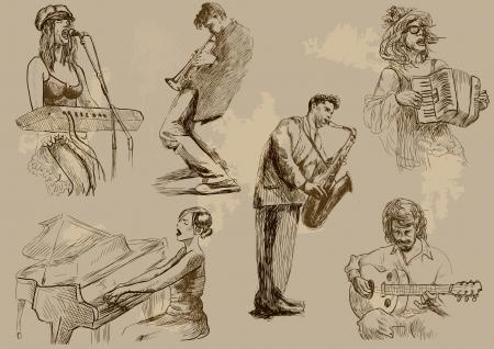 jazz club: Musiciens - Collection de dessins � la main convertis